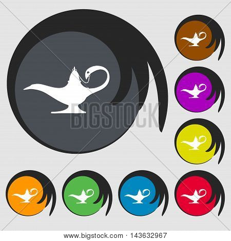 Alladin Lamp Genie Sign Icon. Symbols On Eight Colored Buttons. Vector
