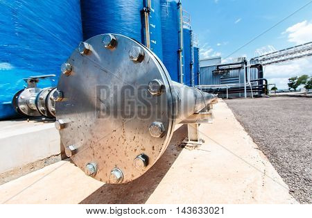 Pipe, stainless steel flanges in large industrial plants.
