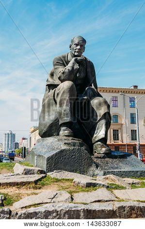 Minsk, Belarus - May 4, 2015: Monument in honor of the national poet and writer of Belarus Yakub Kolas in Minsk, Belarus.