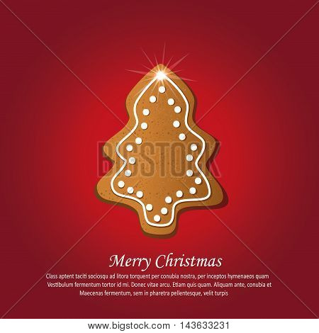 Christmas tree gingerbread greeting card red vector
