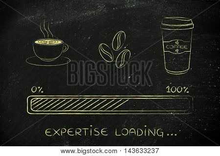 Coffee Icons With Progress Bar Loading Expertise