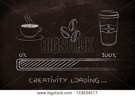Coffee Icons With Progress Bar Loading Creativity
