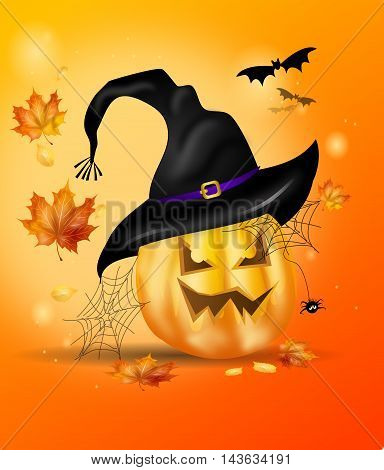 Illustration of halloween pumpkin with witch hat and autumn leaves
