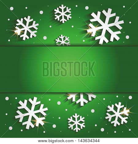 Christmas snowflakes congratulations background green raster blank