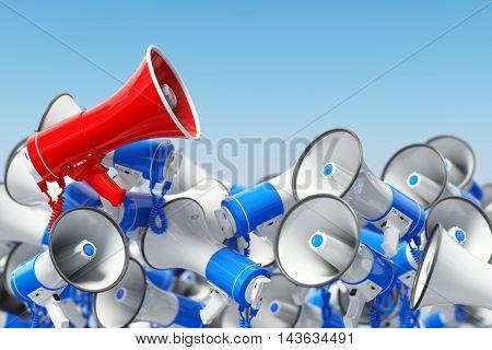 Megaphones. Promotion and advertising, digital marketing or social network. Leader of protest or revolution  concept. 3d illustration