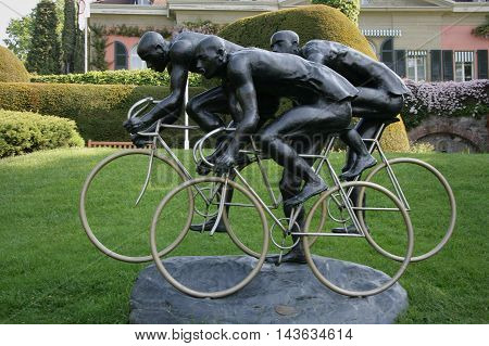 LAUSANNE SWITZERLAND - MAY 03 2009: Cyclists sculpture by Gabor Mihaly at Olympic museum in Lausanne Switzerland