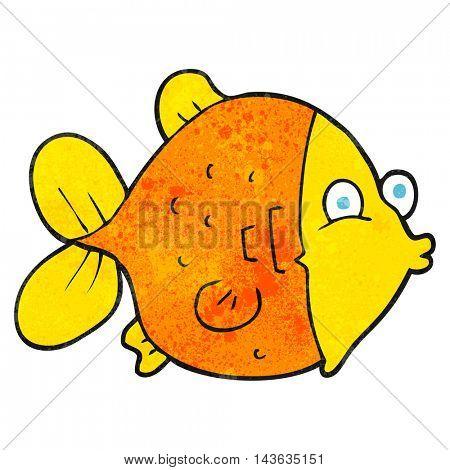 freehand textured cartoon funny fish