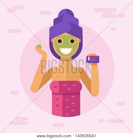Flat vector illustration of beautiful woman in towel applying facial beauty skin care cream mask treatment and holding bottle. Body and face care concept.