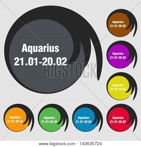 Aquarius Sign Icon. Symbols On Eight Colored Buttons. Vector