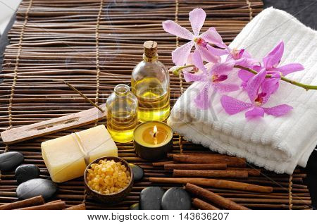 Spa tropical setting and bamboo background