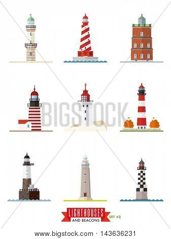 Flat design lighthouses and beacons vector icons collection 2