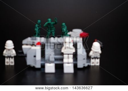 Orvieto Italy - November 22th 2015: Group of Star Wars Lego Stormtroopers minifigures repair a spaceship. Lego is a popular line of construction toys manufactured by the Lego Group