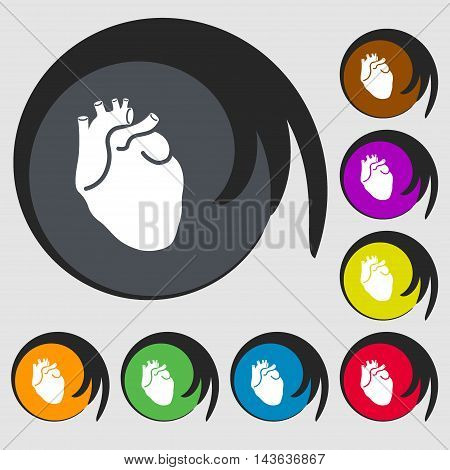 Human Heart Sign Icon. Symbols On Eight Colored Buttons. Vector