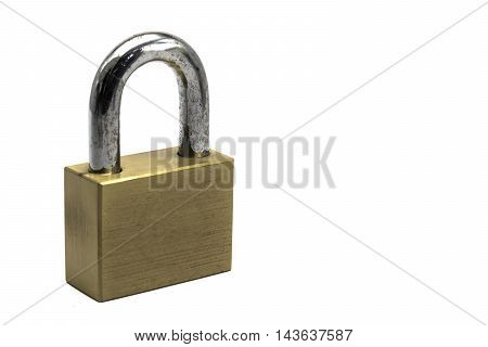 Strong brass lock on white background and space for design