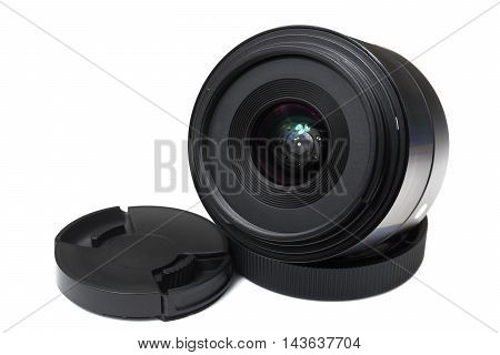 Lens for digital camera with lens cap on white background