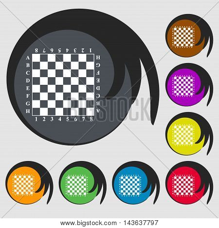 Modern Chess Board Sign Icon. Symbols On Eight Colored Buttons. Vector