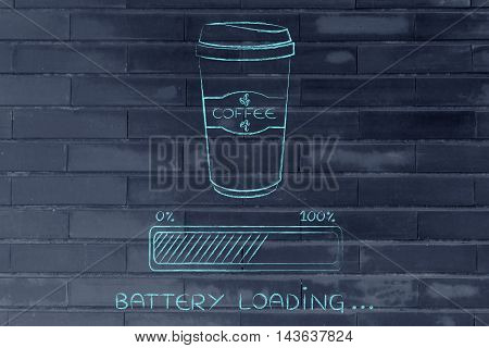 Coffee Tumbler And Progress Bar Battery Loading Awakeness