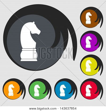 Chess Knight Sign Icon. Symbols On Eight Colored Buttons. Vector