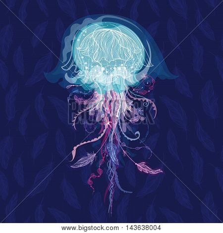 Creative sealife card with ornamental medusa with tribal elements - feathers and flowers on blue background