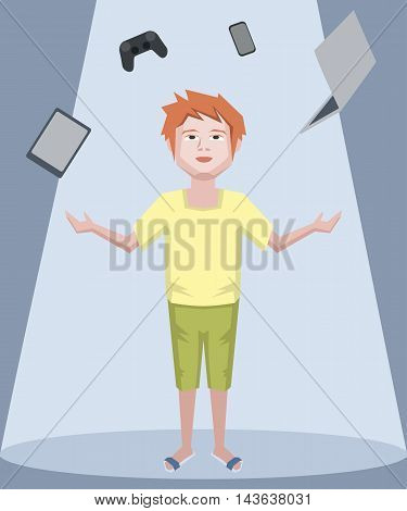 teenager juggling with gadgets - funny cartoon vector illustration