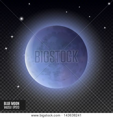 Blue moon. Realistic detailed full moon isolated on transparent background. Eps10 vector illustration, easy to use.