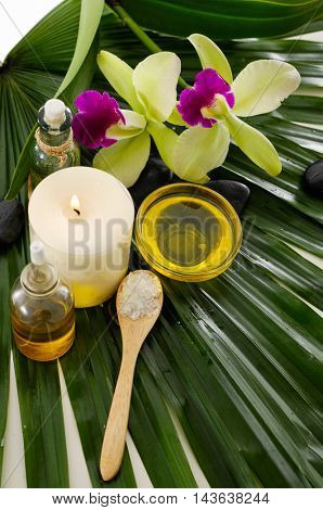 Green orchid ,spa oil , salt in bowl on palm leaf