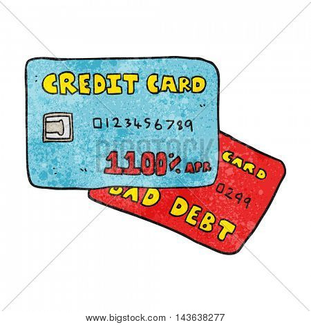 freehand textured cartoon credit cards