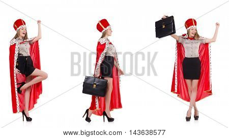 Businesswoman queen isolated on white
