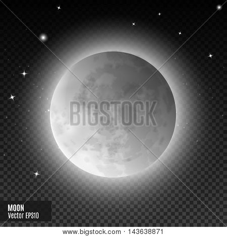 Moon. Realistic detailed white full moon isolated on transparent background. Eps10 vector illustration, easy to use.
