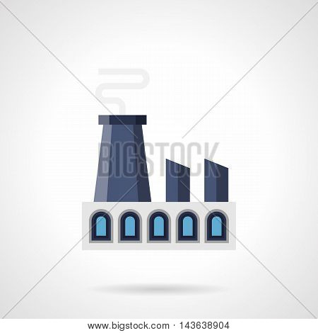 Industrial architecture and facilities. Blue building of power station with large chimneys. Factories and plants theme. Flat color style vector icon.