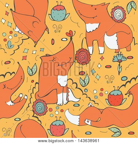 Seamless vector pattern with cute ginger foxes and flowers on yellow background. Hand drawn illustration decorated with doodle flowers and butterflies. Kind childish texture