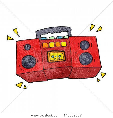 freehand textured cartoon cassette tape player