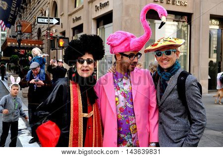 New York City - April 20 2014: Three friends sporting their Easter finery at the Easter Parade on Fifth Avenue