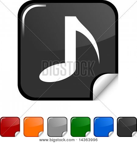 Music sticker icon. Vector illustration.