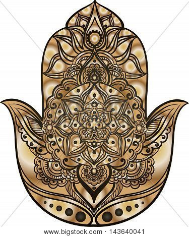 drawing of a Hand of Fatima (Hamsa) in black and gold colors on a white background