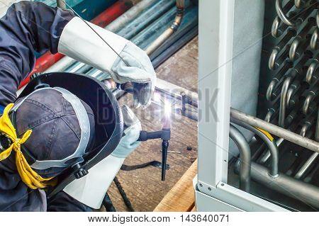 Welded stainless steel pipe argon pressure evaporator.