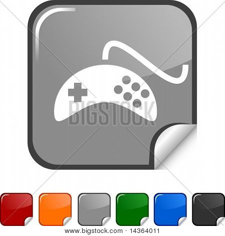Gamepad sticker icon. Vector illustration.
