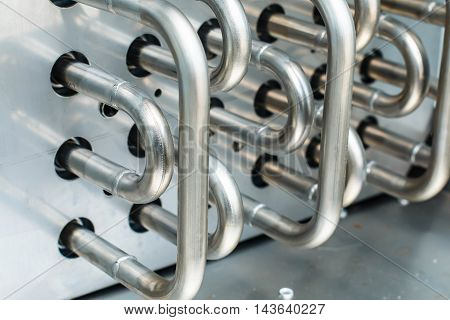 shiny stainless steel pipes, for the food industry