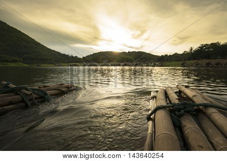 Sunset the River Mountain huts and in countries Thailand.