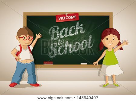 Vector little boy and girl at the blackboard in the classroom. Students are showing Welcome Back to School text on the blackboard.