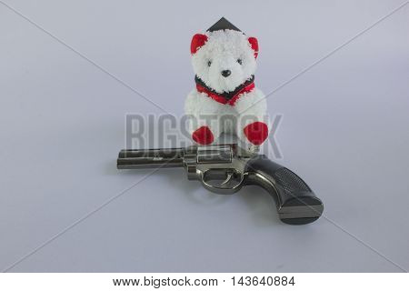 Pistol Revolver Handgun and bear Isolated On White Background.