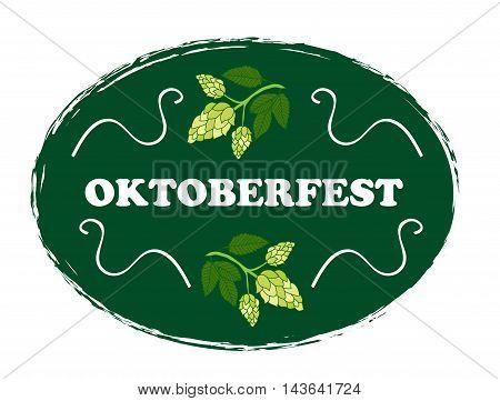Oktoberfest emblem label. Oktoberfest festival. Vector illustration