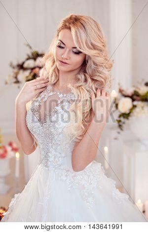 Beautiful girl bride in a magnificent dress.