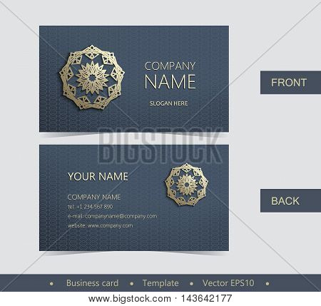 Layout Business Card With Golden Emblem-01.eps