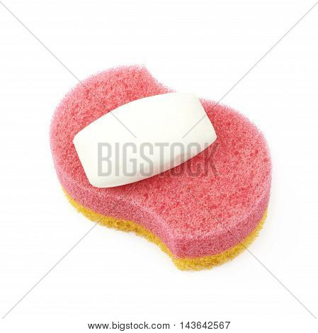 Red and yellow bath sponge with soap next to it, composition isolated over the white background