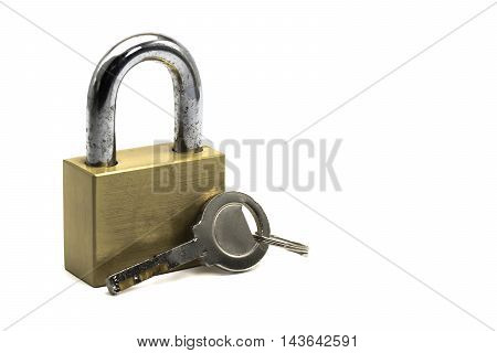 Strong brass lock and key on white background and space for design