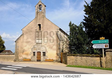 ancient church on the way to beaune burgundy france