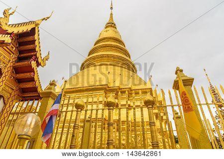 The Wat Phra That Hariphunchai temple in Lamphun,Thailand.