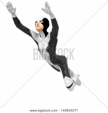 one slim girl in black and white superhero super suit. Flying to the left. The hands directed forward. 3D rendering, 3D illustration