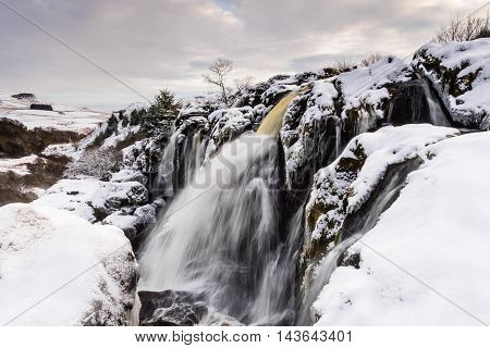 The Loup of Fintry waterfall north of Glasgow Scotland